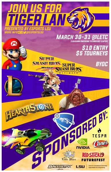 Poster for TigerLan eSports tournament at LSU on March 30th and 31st, 2019
